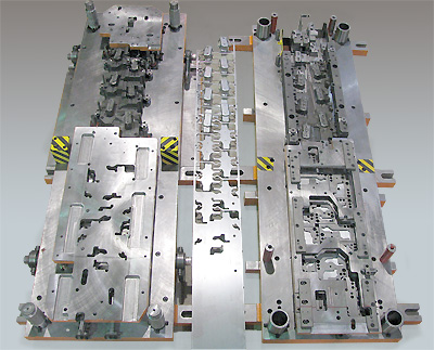 Progressive Die Halves - shown with strips